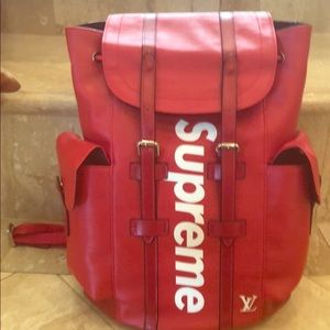 Louis Vuitton Supreme red backpack new W dustcover